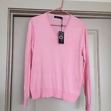RALPH LAUREN POLO GOLF LADIES 100% Cotton V-Neck SWEATER X Large  Pink- NWT