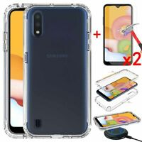 For Samsung Galaxy A01 Case Clear Slim TPU Hard Back Case Cover+Screen Protector