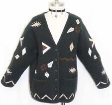 """BOILED WOOL Sweater Jacket Women EMBROIDERY German Winter WARM Coat B44"""" 14 L"""