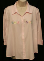 Las Olas pink white striped bling multi color daisies 3/4 sleeve blouse womens L