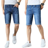 MENS DENIM SHORTS STRETCH SLIM FIT HALF JEANS SUMMER ROLL UP CASUAL SKINNY PANTS