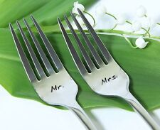Mr. and Mrs.Handmade Wedding Forks, Stainless Steel Cake Forks with Dates