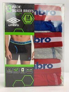 """UMBRO Mens Boxer Brief Underwear Cotton Sz SMALL Waist 28-30"""" MSRP $30 -3 pack"""