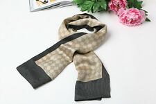 Long Silk Satin Scarf for Men Gray Color Check Prattern SFM012