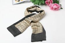 Long Silk Satin Scarf for Men Gray Color Check Prattern SFM012