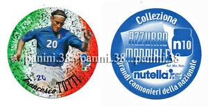 """RARE !! NUTELLA Sticker N10 FRANCESCO TOTTI """"AZZURRO MONDIALE 2002"""" PANINI"""