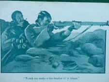 1917 BRUCE BAIRNSFATHER CARTOON - FIRE BUCKET OF 'IS HELMET; SENTRY WWI WW1