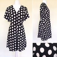 Simply Be Collarless Shirt Dress 18 Button Down V Neck Black Spotted Summer Midi