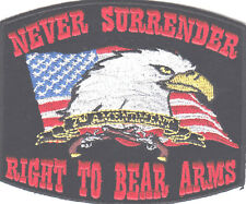 """""""NEVER SURRENDER RIGHT TO BEAR ARMS""""-EAGLE-FLAG-NRA-BIKER-MILITARY-IRON ON PATCH"""