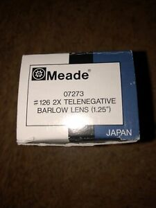 "Meade #126 2x 1.25"" Telenegative Barlow lens Part No 07273"