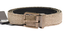 NEW $320 DOLCE & GABBANA Belt Beige Linen Leather Gold Buckle Mens 110cm / 44in
