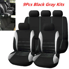 Full Set Car Seat Covers Universal Front Rear Back Gray Cushions Head Rest Mat