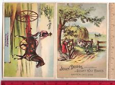 Farm Equipment JOHN DODDS SULKY HAY RAKES Dayton OH Oxen Horse Folder Trade Card