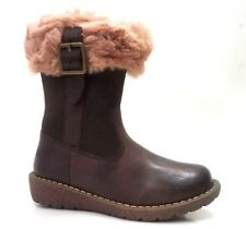 New $140 KICKERS Kids Girls Winter Toddler Boots Brown LEATHER 8,5 USA/25 EURO