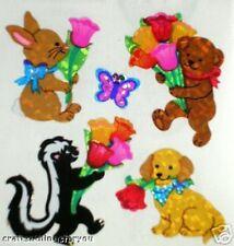 *VINTAGE* Sandylion ANIMALS with FLOWERS Scrapbooking Stickers *FAST SHIP* H35