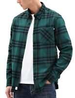 Timberland Mens Cotton Flannel Check Shirt Relaxed Long Sleeve Button Down Green