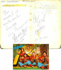Los Paraguayos signed autograph book pages + postcard 1975 music group
