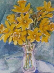 20thC watercolour painting Daffodils framed and glazed