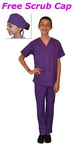 Kids Scrubs Purple REAL Childrens Doctor and Nurse Scrub Sets