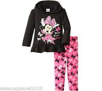 DISNEY GIRLS MINNIE MOUSE 2-PIECE SET BOW HOODED FLEECE LEGGING BLACK PINK - NWT