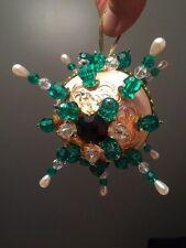 EMERALD & PEARL Moravian Star Victorian Vintage Christmas Ornament UNIQUE FIND ~