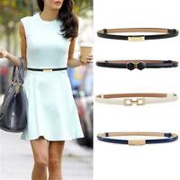 Women  Waist Belt Narrow Stretch Dress Belt Thin Buckle Leather Waistband