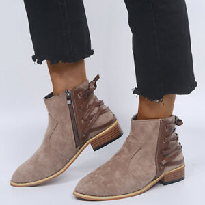 Women Ankle Boots Flat Faux Leather Suede Chelsea Round Toe Zip Shoes Plus Size