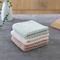 3 Colour Nonstick Oil Coral Velvet Hanging Hand Towels Kitchen Home Dishclout
