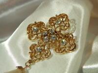 Vintage 1970's Sarah Cov Maltese Cross Gold Tone Large Pendant Necklace  335J9