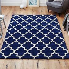 Modern Contemporary Rug Geometric Trellis Moroccan Navy Carpet Soft Area Rug