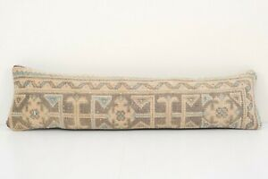 """Faded Turkish Extra Long Bedding Rug Pillow,Muted Copper Tribal Pillow 10"""" x 36"""""""