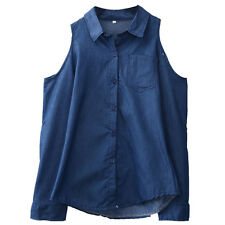 Womens Ladies Casual Denim Long Sleeve Classic Fitted Shirt Top Blouse 6-14
