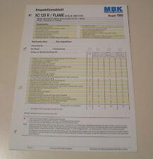 Inspektionsblatt MBK Motorroller XC 125 R / FLAME - ab 1998 !