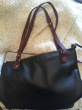 """Carpisa Purse Messenger Bag Black Burgundy Adjustable Straps Zips 17""""x11"""""""