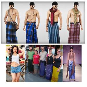Men's and Wemen's LARGE Sarong Lungi Dhoti  cotton - 100% Cotton- (Pack of 4)