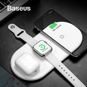 Baseus Wireless Charger 3 in 1 Qi for iPhone XR XS Max iWatch 4 3 2 UK