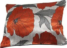 Red Poppy & Silver wovern Brocade cushion cover made in the UK