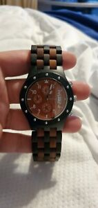 Bewell Wood Watch Men Chronograph Quartz Movement Date Wooden Watch