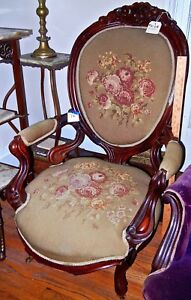 Antique Parlor chair  1800's  Victorian Needlepoint Green with  Roses  cat #72