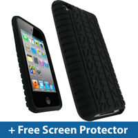 Black Tyre Skin Case for Apple iPod Touch 4th Gen 4G iTouch Silicone Cover