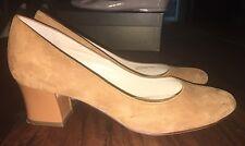 Cole Haan Camel Tan Round Toe Suede Chunky Patent Low Kitten Heel 8.5 8 1/2 M EC