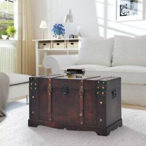 Vintage Treasure Chest Wood Trunk Storage Box Coffee Table Large Organiser Brown