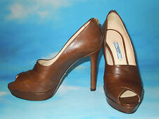 PRADA Calzature Donna Nappa Leather Tobacco Brown Shoes heels 38 NIB $ 830.00