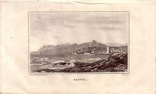 Corsica Corse France Bastia Vue générale ACCIAIO CHIAVE gravure de fer 1850