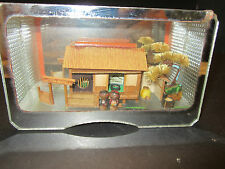 Vintage Japanese Wooden Bamboo MODEL HOUSE Stand Architecture ENCASED DIARAMA
