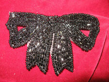 BLACK BEADED BOW APPLIQUE 2543-C