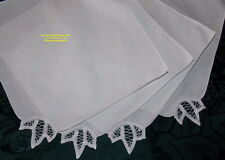 SERVIETTES A THE BRODES MAIN DENTELLE RENAISSANCE BLANCHES LOT DE 4 COTON