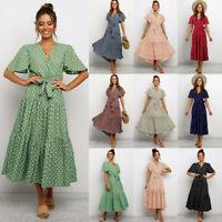 Women Fashion V Neck Polka Dot Maxi Dress Summer Beach Holiday Floral Sundresses