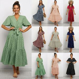 Womens V Neck Polka Dot Maxi Dress Ladies Summer Beach Holiday Floral Sundresses