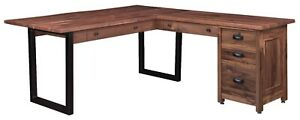 Amish Transitional Modern Corner L Computer Desk Live Edge Solid Wood Metal Base